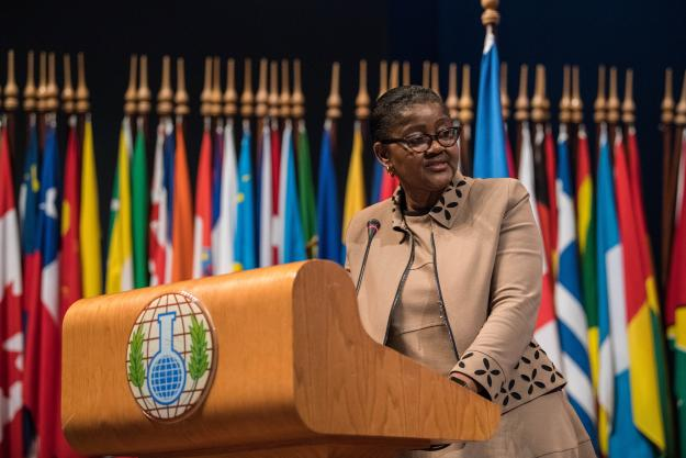 H.E. Ambassador Odette Melono, Permanent Representative of Cameroon to the OPCW, speaking at the Twenty-Second Session of the Conference of the States Parties to the Chemical Weapons Convention (CSP-22)
