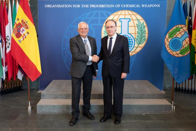 The Director-General of the Organisation for the Prohibition of Chemical Weapons (OPCW), H.E. Mr Fernando Arias, and Minister of Foreign Affairs, European Union and Cooperation of the Kingdom of Spain, H.E. Mr Josep Borrell Fontelles, met today at the OPCW Headquarters in The Hague.