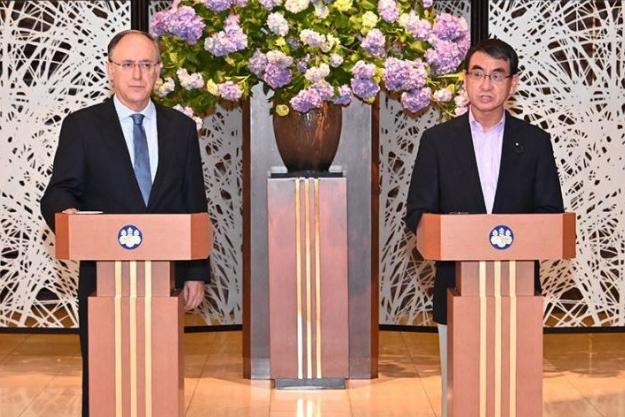 OPCW Director-General, H.E. Mr Fernando Arias, and Japan's Minister of Foreign Affairs, H.E. Mr Taro Kono. Photo Credit: Ministry of Foreign Affairs of Japan