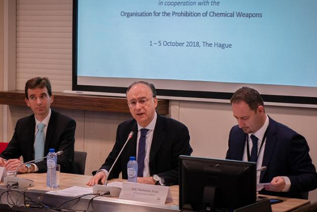 OPCW Director- General, Ambassador Fernando Arias, delivering the keynote address at the opening of the Asser Institute's Training Programme on Disarmament and Non-Proliferation of Weapons of Mass Destruction