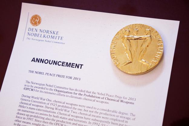 The announcement letter for the 2013 Nobel Peace Prize