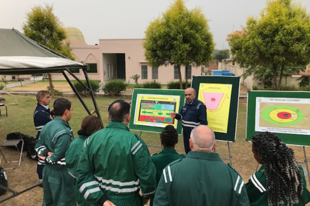 Experts from the Islamic Republic of Pakistan instruct international participants on contaminated scene operations