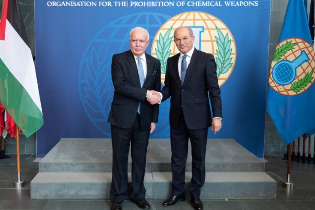 OPCW Director-General, Ambassador Ahmet Üzücmü, meeting the Minister of Foreign Affairs of the State of Palestine, H.E. Dr Riad Al-Maliki, at OPCW Headquarters
