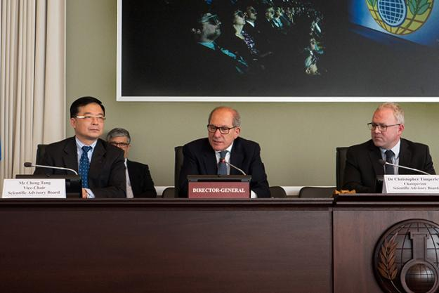 Mr Cheng Teng, Vice Chair of the SAB, H.E. Mr Ahmet Üzümcü, OPCW Director-General, and, Dr. Christopher Timperley, Chairperson of the SAB.