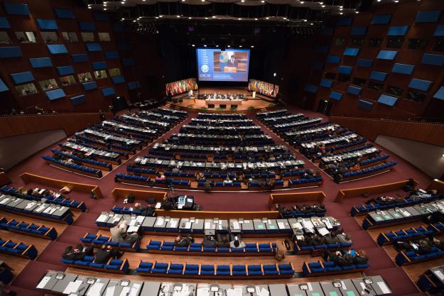 The World Forum Theatre at the 21st Session of the Conference of the States Parties.