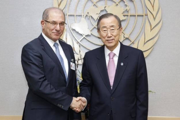 Director-General Ahmet Üzümcü with United Nations Secretary-General Ban Ki-moon