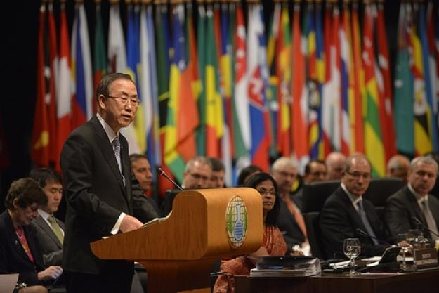 UN Secretary General Ban Ki-Moon addresses the opening session of the Third Review Conference.