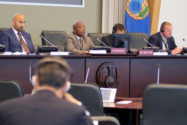 Members of the OPCW Confidentiality Commission at OPCW headquarters in The Hague, May 2016.Minister Désiré Jean Claude Owono Menguele, Chairperson of the 2016 Confidentiality Commission addresses members.