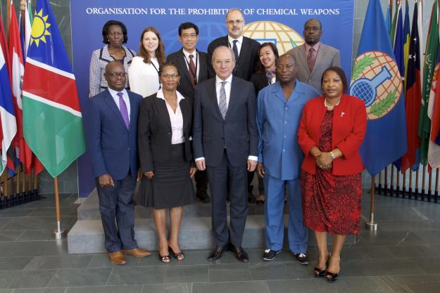 Delegation from Namibia taking part in OPCW's Influential Visitors Programme (IVP) at OPCW Headquarters