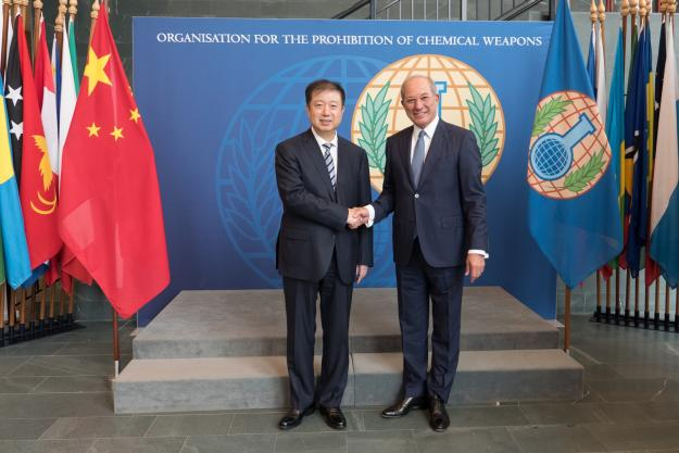 The Deputy Minister of the Ministry of Industry and Information Technology of China, Mr Liu Lihua, meeting the Director-General of the OPCW, Ambassador Ahmet Üzümcü