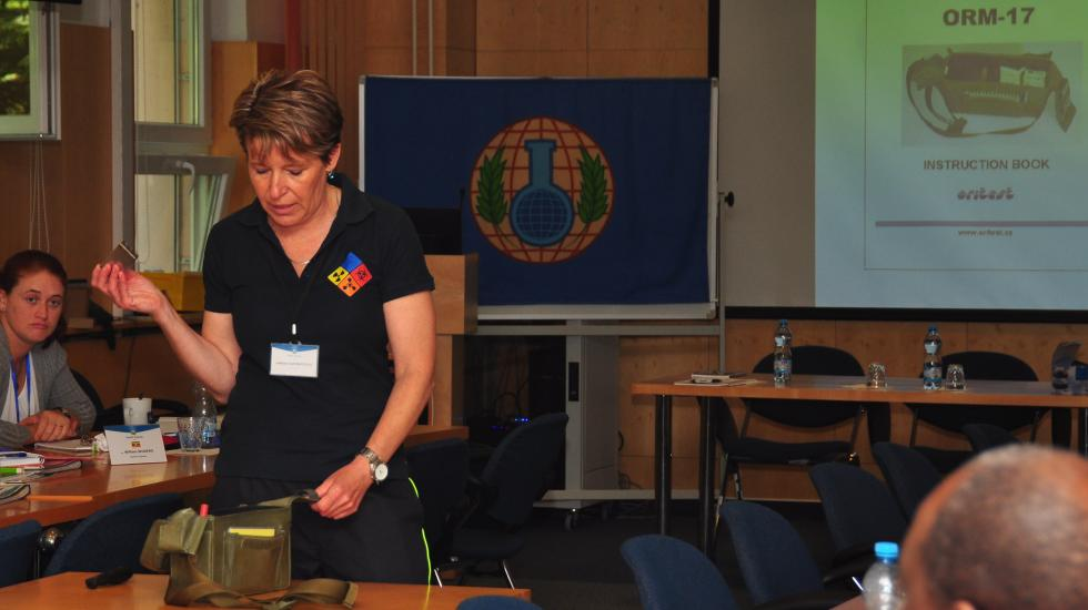 Experts from various countries enhance their teaching skills on chemical emergency response in a train of trainers course for instructors in Czech republic.
