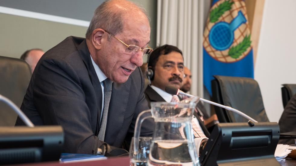 OPCW Director-General Ahmet Üzümcü delivers opening address at an OPCW Executive Council meeting