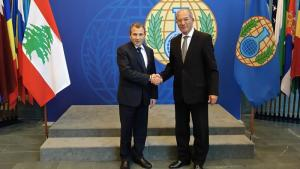 Minister for Foreign Affairs and Emigrants of Lebanon, H.E. Mr. Gebran Bassil (left) and OPCW Director-General, Ambassador Ahmet Üzümcü