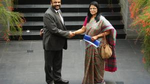 Deputy Director-General Ambassador Grace Asirwatham (left) and the Chairman of the Sri Lankan National Authority, Anura Siriwardena