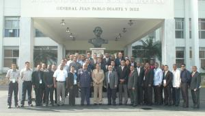 Participants at the Basic Regional Course for Specialists on Responding to Chemical Warfare Agents and Toxic Industrial Chemicals (TICs), which was held in Santo Domingo in March 2015.