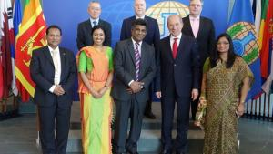 Deputy Foreign Minister of Sri Lanka, Mr Ajith Perera, with the Director-General and senior OPCW officials.
