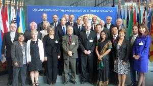 Deputy Director-General, Ambassador Grace Asirwatham, with members of the OPCW Scientific Advisory Board.