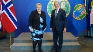 OPCW Director-General Ambassador Ahmet Üzümcü with the Prime Minister of the Kingdom of Norway, H.E. Mrs Erna Solberg