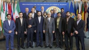 OPCW Deputy Director-General Hamid Ali Rao (center right) and the judiciary delegation of the Islamic Republic of Iran to the OPCW.