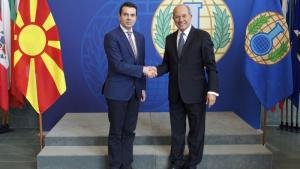 The Minister of Foreign Affairs of the former Yugoslav Republic of Macedonia, H.E. Mr. Nikola Poposki (left) and OPCW Director-General Ahmet Üzümcü.