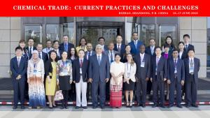 OPCW Deputy Director-General Mr Hamid Ali Rao (centre) with participants of  the international seminar on chemical trade, which took place in Rizhao City, China on 16 June 2016.