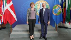 State Secretary for Foreign Policy of the Kingdom of Denmark, H.E. Ms Lone Dencker Wisborg (left) and OPCW Director-General Ahmet Üzümcü.