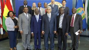 OPCW Deputy Director-General, Ambassador Hamid Ali Rao, with a delegation from the Parliamentary Select Committee on Foreign Affairs of the Republic of Ghana at the OPCW Headquarters in The Hague