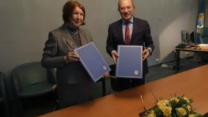 OPCW Director-General Ahmet Üzümcü (right) and the President of the International Union of Pure and Applied Chemistry (IUPAC), Professor Natalia Tarasova, signed a Memorandum of Understanding (MOU) today pledging to enhance cooperation to keep abreast of developments in chemistry, responsibility and ethics in science, and education and outreach.