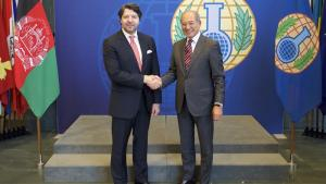 OPCW Director-General Ahmet Üzümcü (right) and the Deputy Minister of Foreign Affairs of Afghanistan H.E. Mr Hekmat Khalil Karzai.