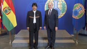 The President of the Plurinational State of Bolivia, H.E. Mr Evo Morales (left) and OPCW Director-General  Ahmet Üzümcü.