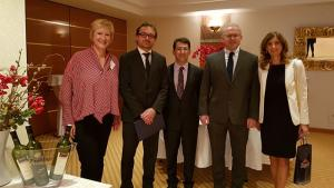 SAB member from Institute of Medical Research and Occupational Health, Zagreb, Croatia Dr Zrinka Kovarik (far left), State Secretary of the Ministry of Economy, Entrepreneurship and Crafts of Croatia,Mr Mario Antonić, OPCW Science Policy Adviser and Secretary to the SAB, Dr Jonathan Forman, Chairperson of the SAB,Dr Christopher Timperley, and Ministry of Economy, Entrepreneurship and Crafts of Croatia, Ms Mirna Maravić