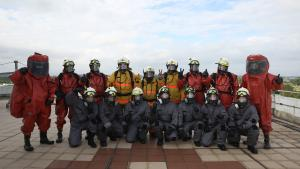 Emergency first responders at a field exercise on chemical emergency response held in Singapore's Civil Defence Academy