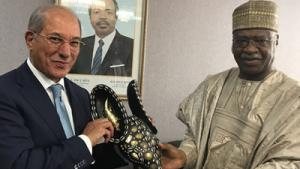OPCW Director-General Ahmet Üzümcü (left) and the Prime Minister of Cameroon, Mr Philémon Yang.