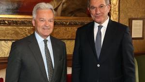 The OPCW Director-General, Ambassador Ahmet Üzümcü, with Minister of State for Europe and the Americas at the Foreign & Commonwealth Office, The Rt Hon Sir Alan Duncan