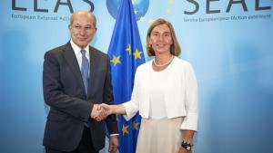The OPCW Director-General, Ambassador Ahmet Üzümcü, meeting with Ms Federica MOGHERINI, High Representative of the EU for Foreign Affairs and Security Policy