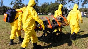 First Responders from Latin America at a an Exercise on Assistance and Protection against Chemical Weapons (EXBRALC III 2018) training