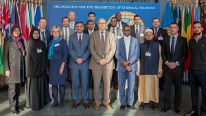 Participants at a workshop on the advancement of the Chemical Weapons Convention (CWC) education