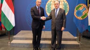 State Secretary for Security Policy of the Hungarian Ministry of Foreign Affairs and Trade, H.E. Mr Péter Sztáray, and the Director-General of the Organisation for the Prohibition of Chemical Weapons (OPCW), H.E. Mr Fernando Arias