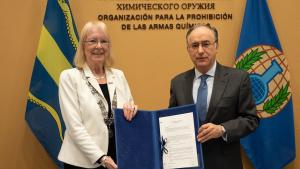 The Director-General of the Organisation for the Prohibition of Chemical Weapons (OPCW), H.E. Mr Fernando Arias, and the Mayor of Pijnacker-Nootdorp, H.E. Ms Francisca Ravestein, signed an agreement to provide land for the construction of a new OPCW Centre for Chemistry and Technology