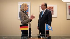 Permanent Representative of Germany to the OPCW, H.E. Ambassador Christine Weil, and the Director-General of the OPCW, H.E. Mr Fernando Arias,