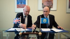 The United Kingdom's Permanent Representative to the OPCW, H.E. Ambassador Peter Wilson (Left), and OPCW Director-General, H.E. Mr Fernando Arias (Right), formalised the contribution today at a ceremony held at OPCW Headquarters in The Hague.