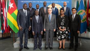 Members of the delegation from the Togolese Republic with OPCW Director-General, H.E. Mr Fernando Arias, and Deputy Director-General, H.E. Ambassador Odette Melono