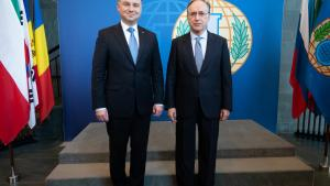 OPCW Director-General, H.E. Mr Fernando Arias, and the President of Poland, Mr Andrzej Duda, meeting at the OPCW Headquarters in The Hague