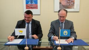 OPCW Director-General, H.E. Mr Fernando Arias, and the Permanent Representative of Cyprus to the OPCW, H.E. Ambassador Elpidoforos Economou.