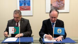 OPCW Director-General, H.E. Mr Fernando Arias, and the Permanent Representative of Algeria to the OPCW, H.E. Ambassador Lounès Magramane
