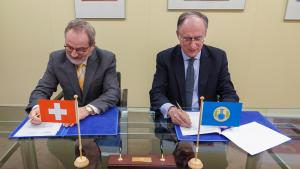 OPCW Director-General, H.E. Mr Fernando Arias, and the Permanent Representative of Switzerland to the OPCW, H.E. Ambassador Heinz Walker-Nederkoorn