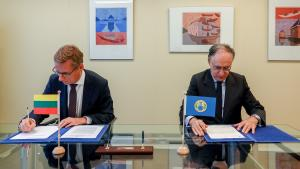 H.E. Ambassador Vidmantas Purlys, Permanent Representative of Lithuania to the OPCW and H.E. Mr Fernando Arias, OPCW Director-General